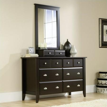 sauder shoal creek dresser and mirror set in jamocha wood. Black Bedroom Furniture Sets. Home Design Ideas