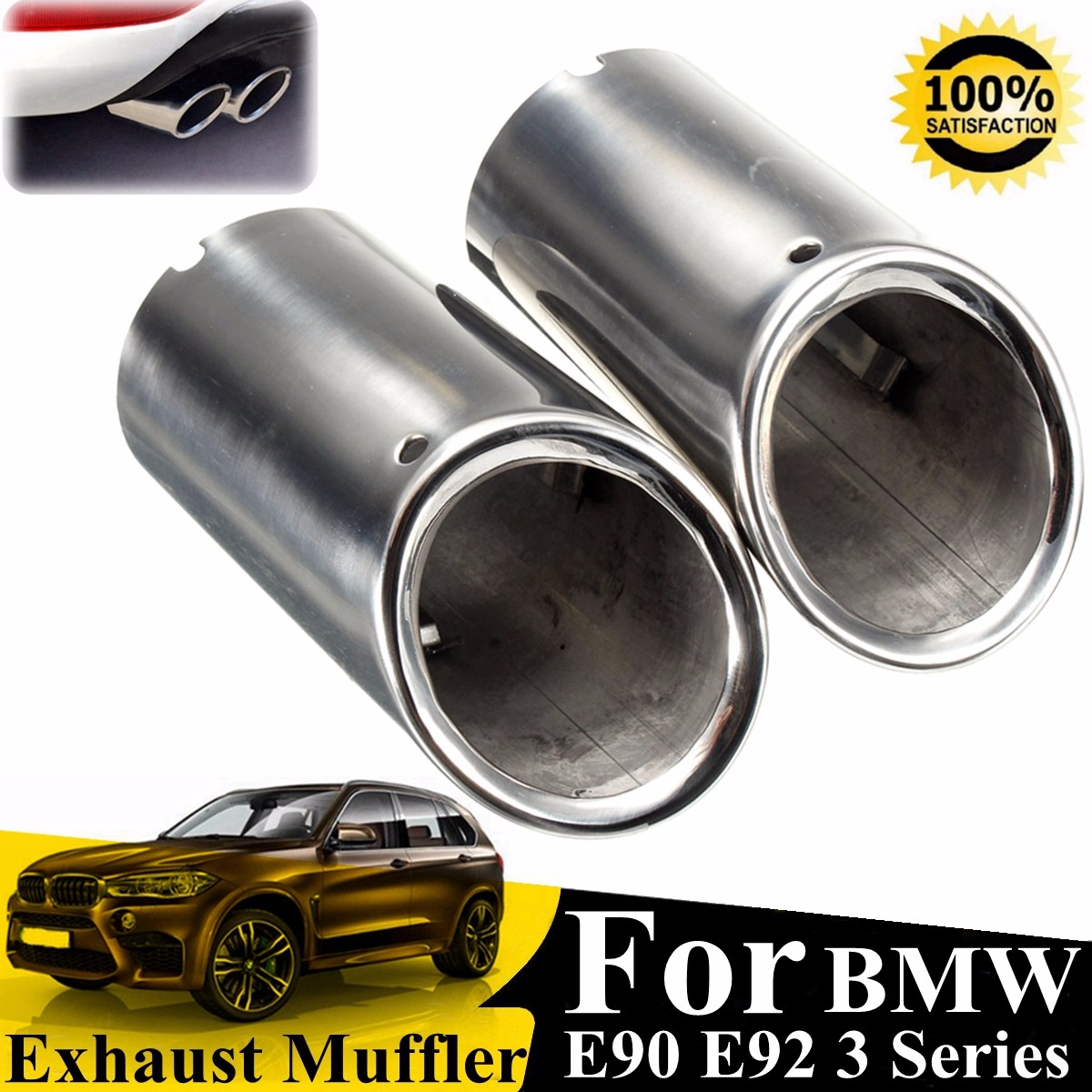 2x Black Stainless Steel Car Exhaust Tip Muffler Pipe For BMW 325i 328i 3 Series