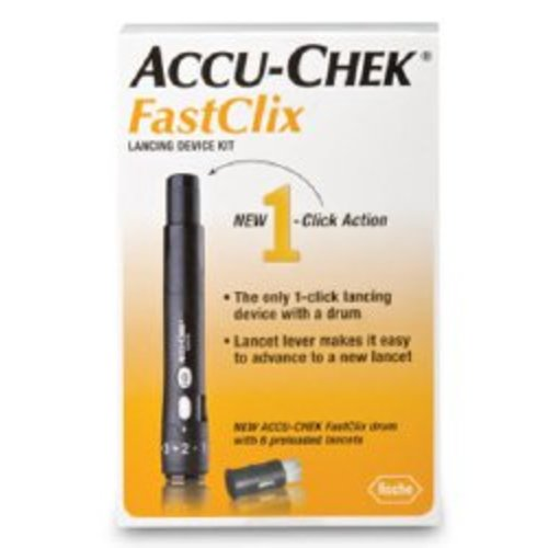 Lancet Device Kit Accu-Chek® FastClix Adjustable Depth Lancet Needle 11 Depth Settings Track System