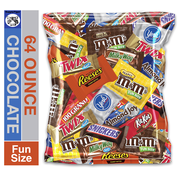 (64 Ounce) Variety Assortment Mix Bulk Pack Chocolate M&M's, Snickers, Milky Way, Twix, Reese's, York, 100 Grand, Almond Joy, Kitkat.