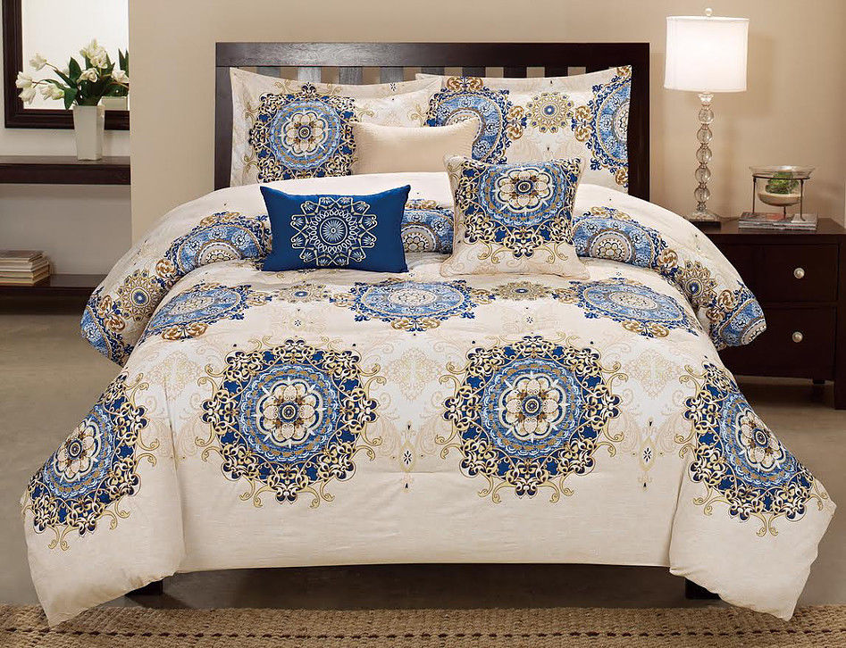 GLORY BLUE AND BONE 6 PIECE COMFORTER SET INCLUDES 3 TOSS PILLOWS & 2 PILLOW SHAMS by
