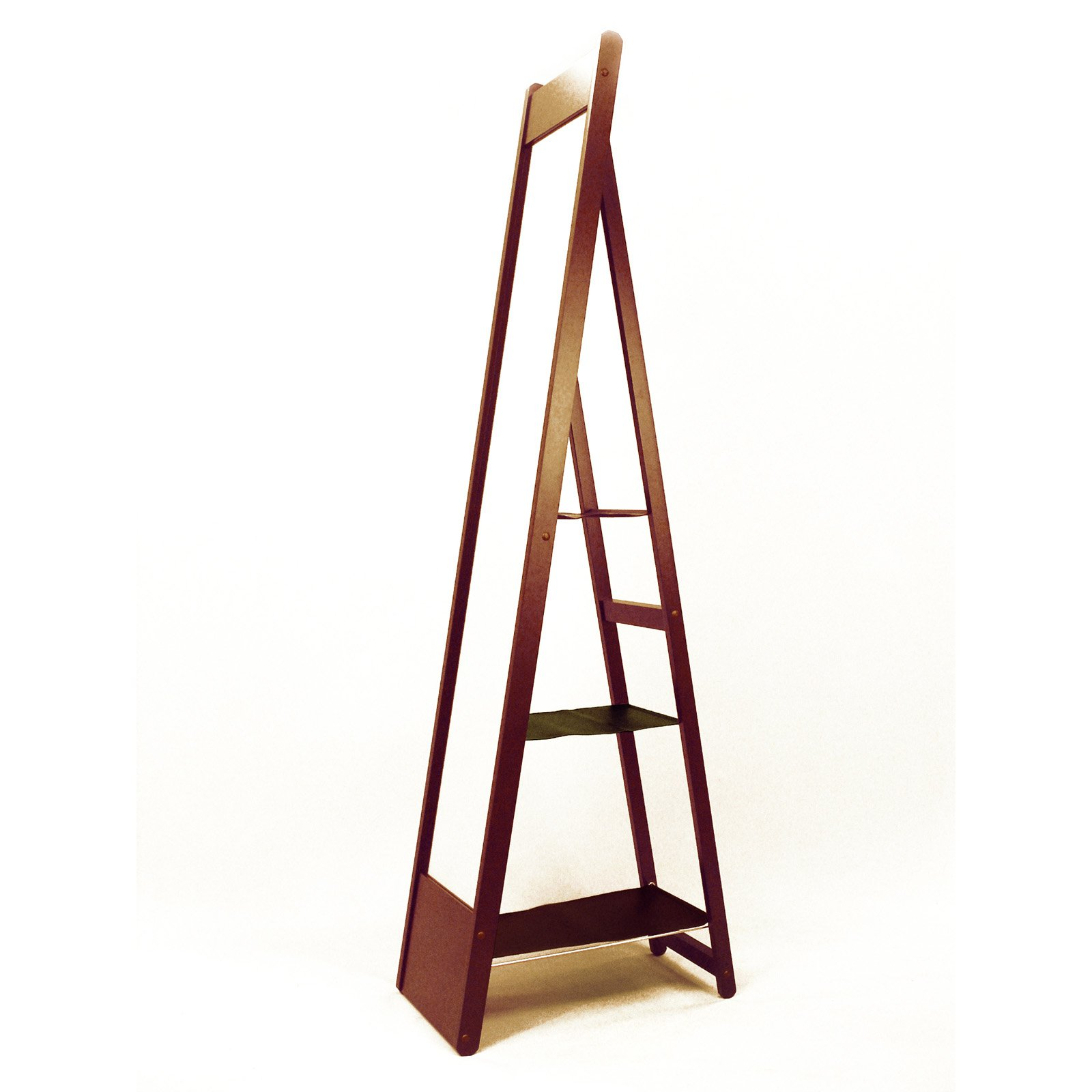 Proman Aris Full Length Easel Cheval Mirror with Shelves - Mahogany - 12.62