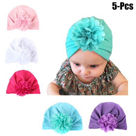 Velvet Turban - 5PCS Baby Hat, Aniwon Solid Color Soft Velvet Cute Flower Baby Head Wrap Headband Infant Toddler Cap Turban for Newborn Girl Boy