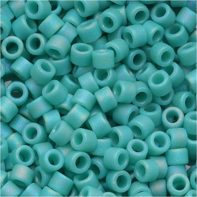 Miyuki Delica Seed Beads 10/0 Opaque Matte Turquoise AB DBM0878 8 Grams