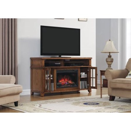 dakota tv stand with 25 curved electric fireplace premium oak. Black Bedroom Furniture Sets. Home Design Ideas