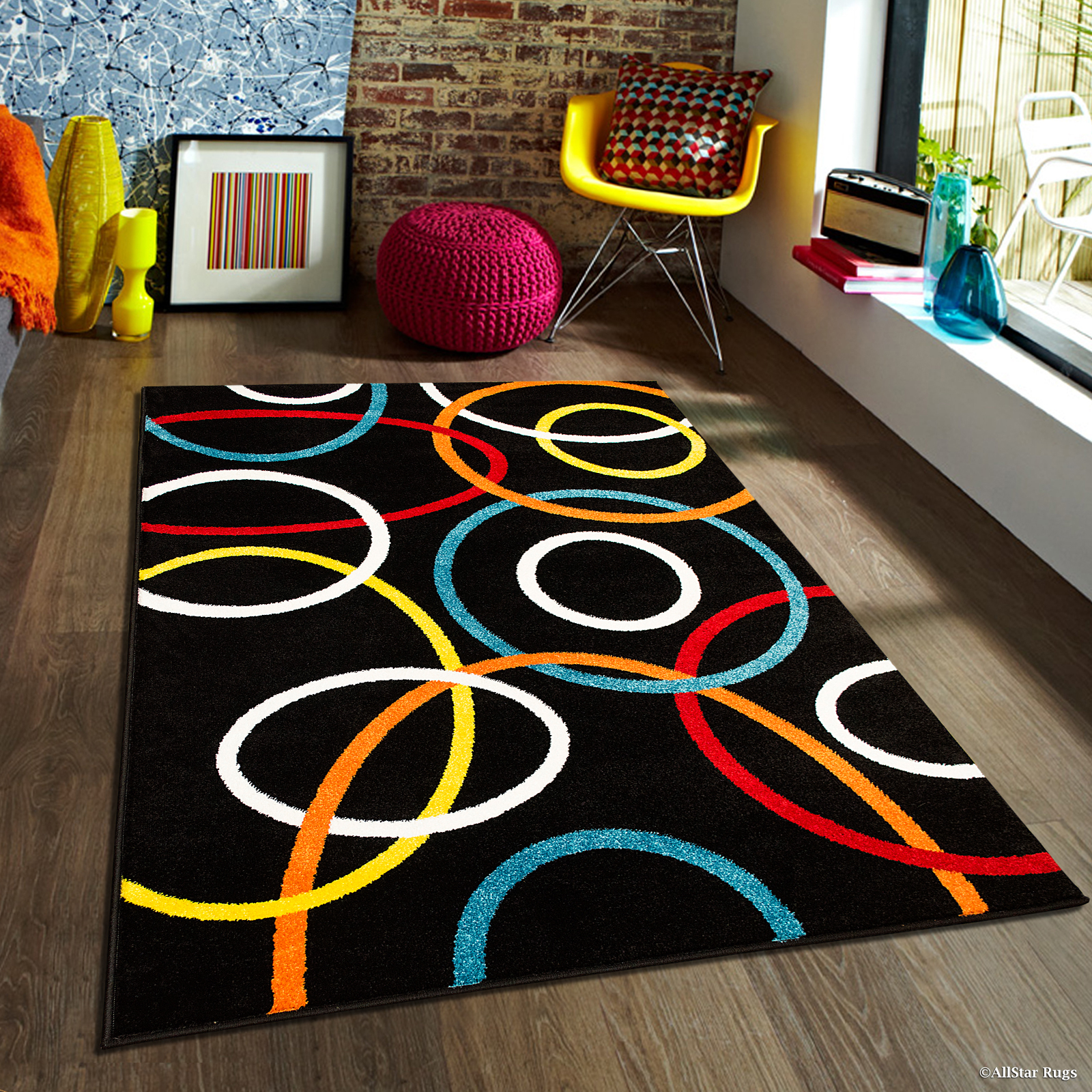 "Allstar Woven High Quality Colorfun. Burst of Colors. Contemporary. Modern. Geometric. Area Rug (5' x 6' 11"")"