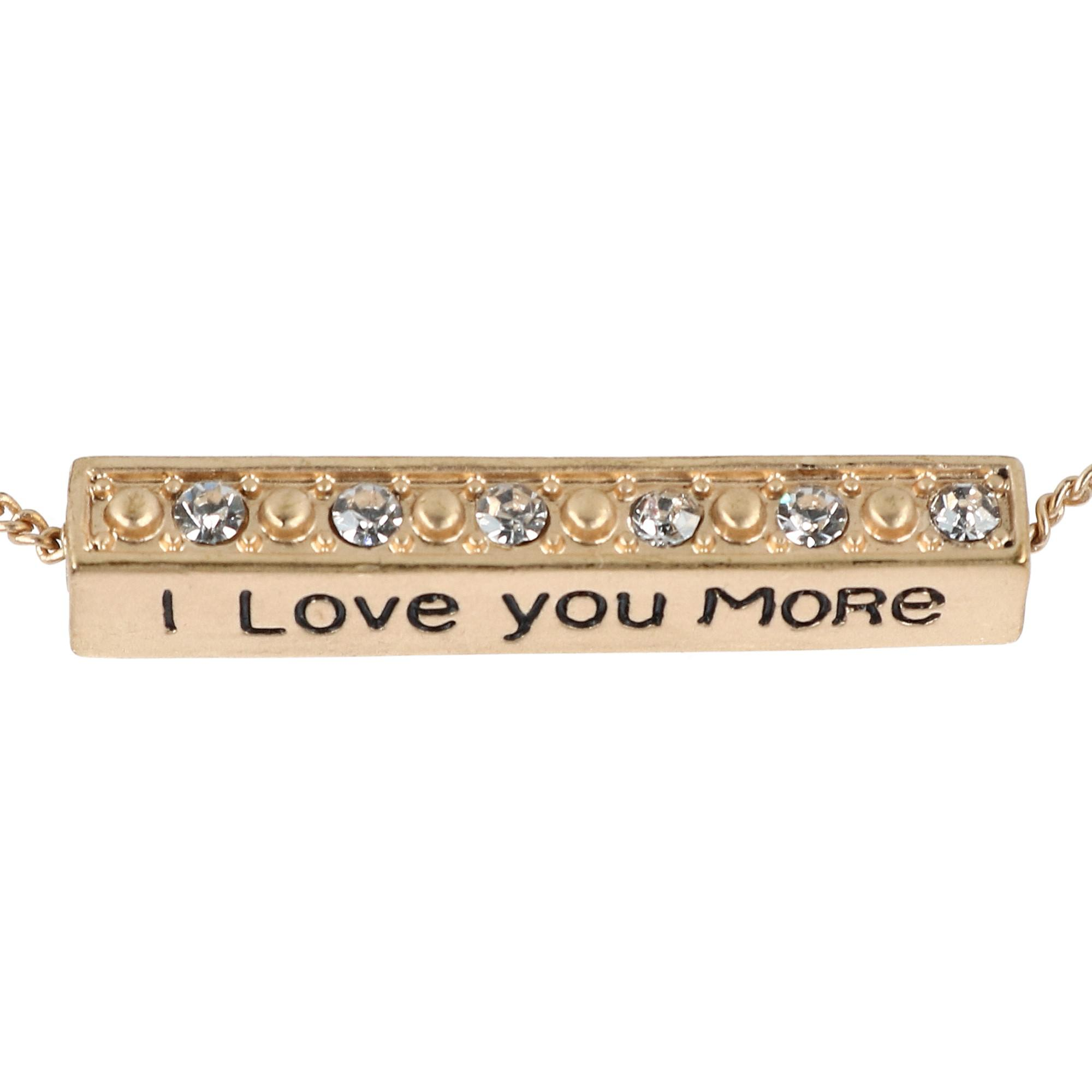 Accessorize Me I Love You More Bar Pendant Necklace with Rhinestones - image 1 of 5