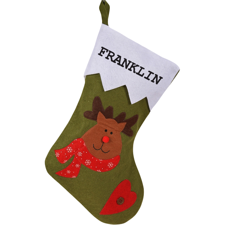 Custom Red Nosed Reindeer Christmas Stocking