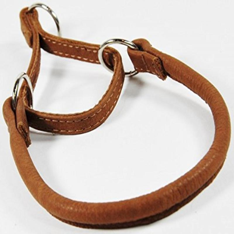 "Dogline Round Leather Martingale Collar W1/2"" - L26"", Brown"