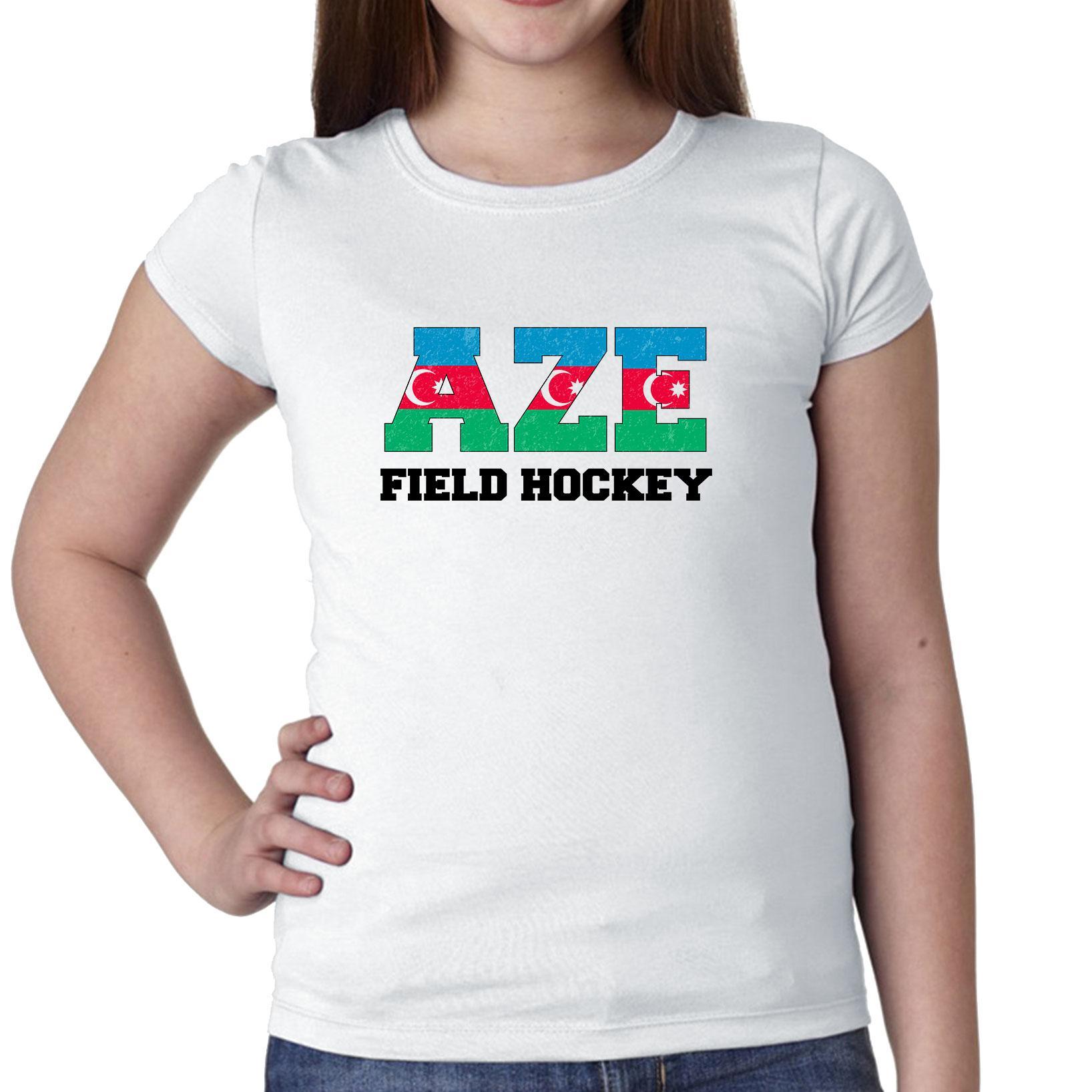 Azerbaijan Field Hockey Olympic Games Rio Flag Girl's Cotton Youth T-Shirt by Hollywood Thread