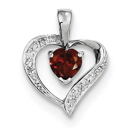 Sterling Silver Rhodium Heart Garnet & Diamond Heart Pendant. Carat Wt- 0.56ct