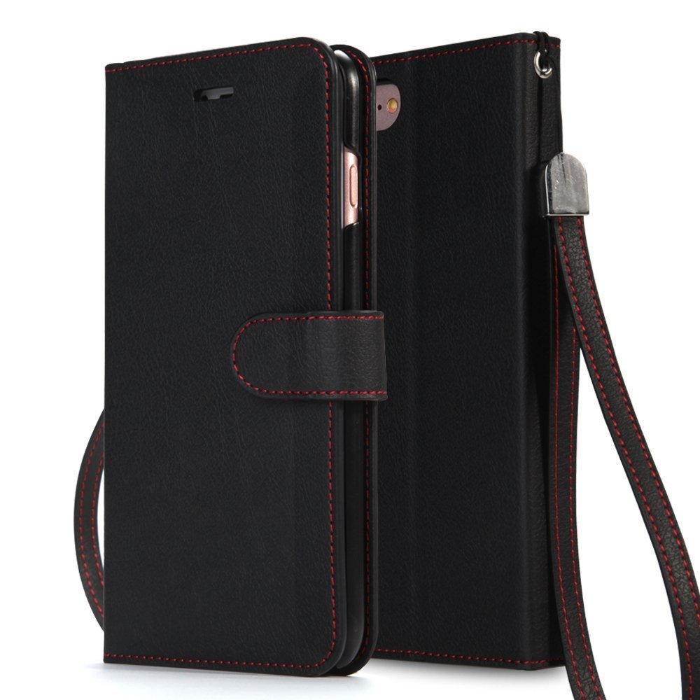 AceAbove iPhone 7 Plus Case, (Wrist Strap) Premium PU Leather Wallet Case with (Kickstand) Card Holder and ID Slot