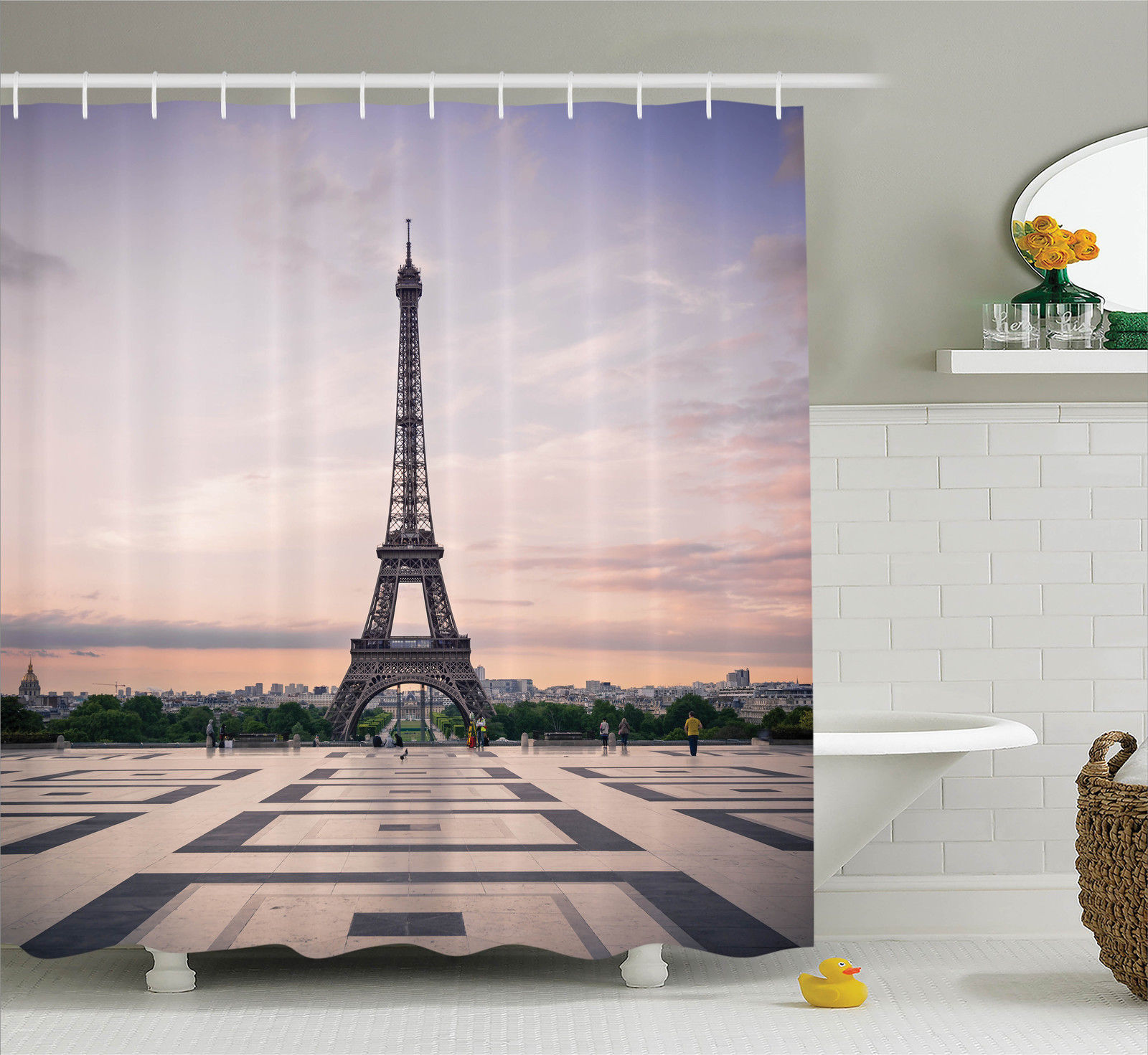 Paris City Decor Trocadero And Eiffel Tower At Sunshine Paris Skyline Historic Landscape View, Bathroom Accessories, 69W X 84L Inches Extra Long, By Ambesonne