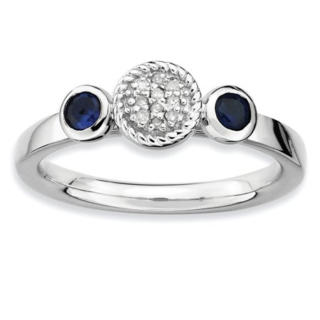 Sterling Silver Stackable Expressions Dbl Round Cr. Sapphire & Dia. Ring Size 9 - image 1 of 3