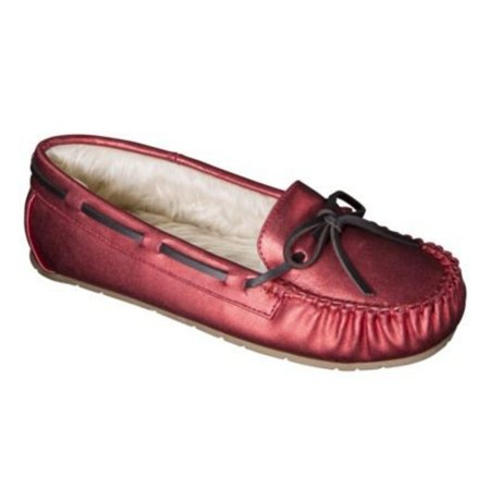 Womens Metallic Red Slippers Faux Fur Chaia -
