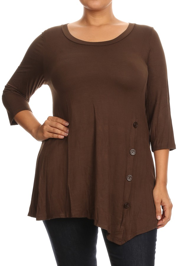 PLUS Women's 3/4 Sleeves Solid Tunic Top