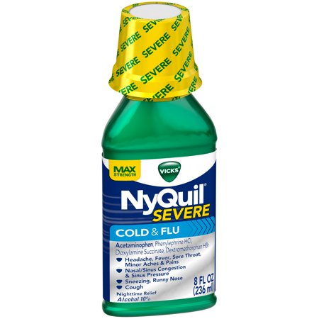 Vicks Nyquil Severe Cold   Flu Nighttime Relief Liquid 8 Fl  Oz  Plastic Bottle