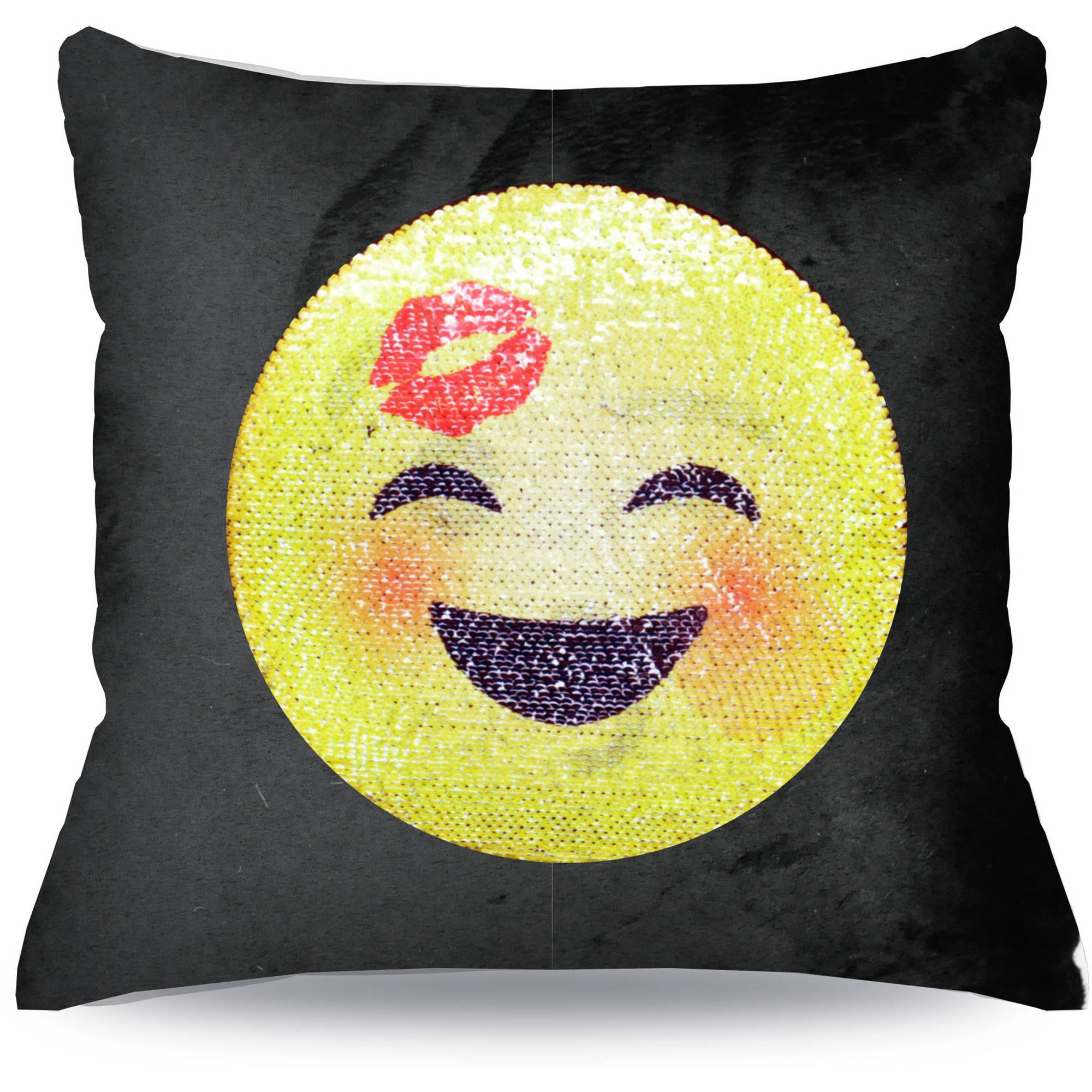 EmojiPals Blowing Kiss Reverisble Sequin Decorative Pillow