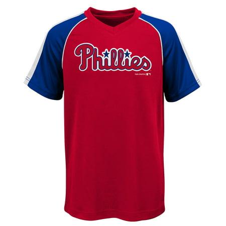 - MLB Philadephia PHILLIES TEE Short Sleeve Boys Fashion Jersey Tee 100% Polyester Pin Dot Mesh Jersey Team Tee 4-18