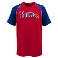 MLB Philadephia PHILLIES TEE Short Sleeve Boys Fashion Jersey Tee 100% Polyester Pin Dot Mesh Jersey Team Tee 4-18