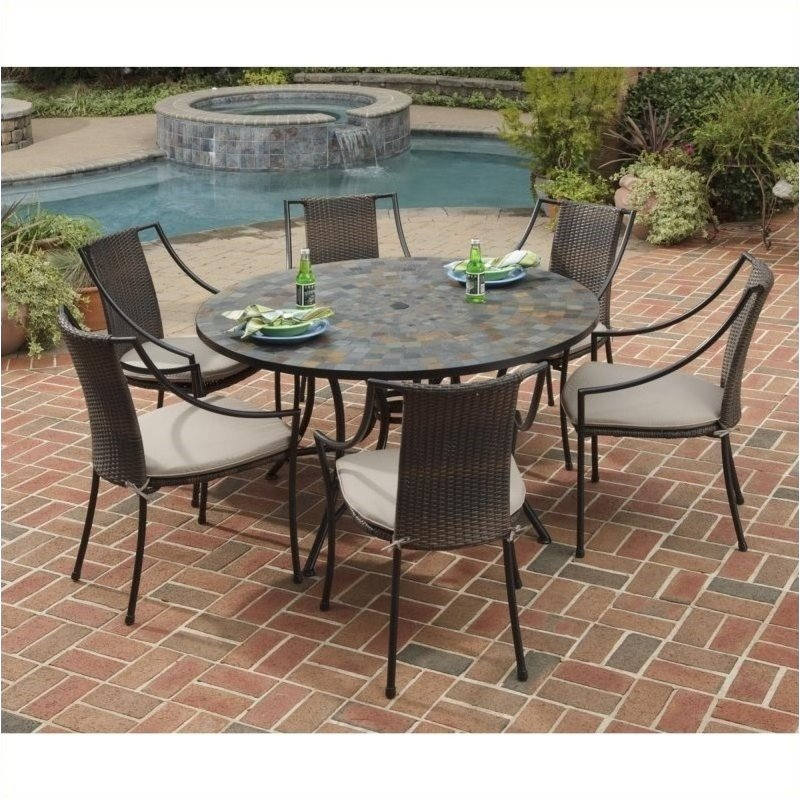 Bowery Hill 7 Piece Metal Patio Dining Set in Black