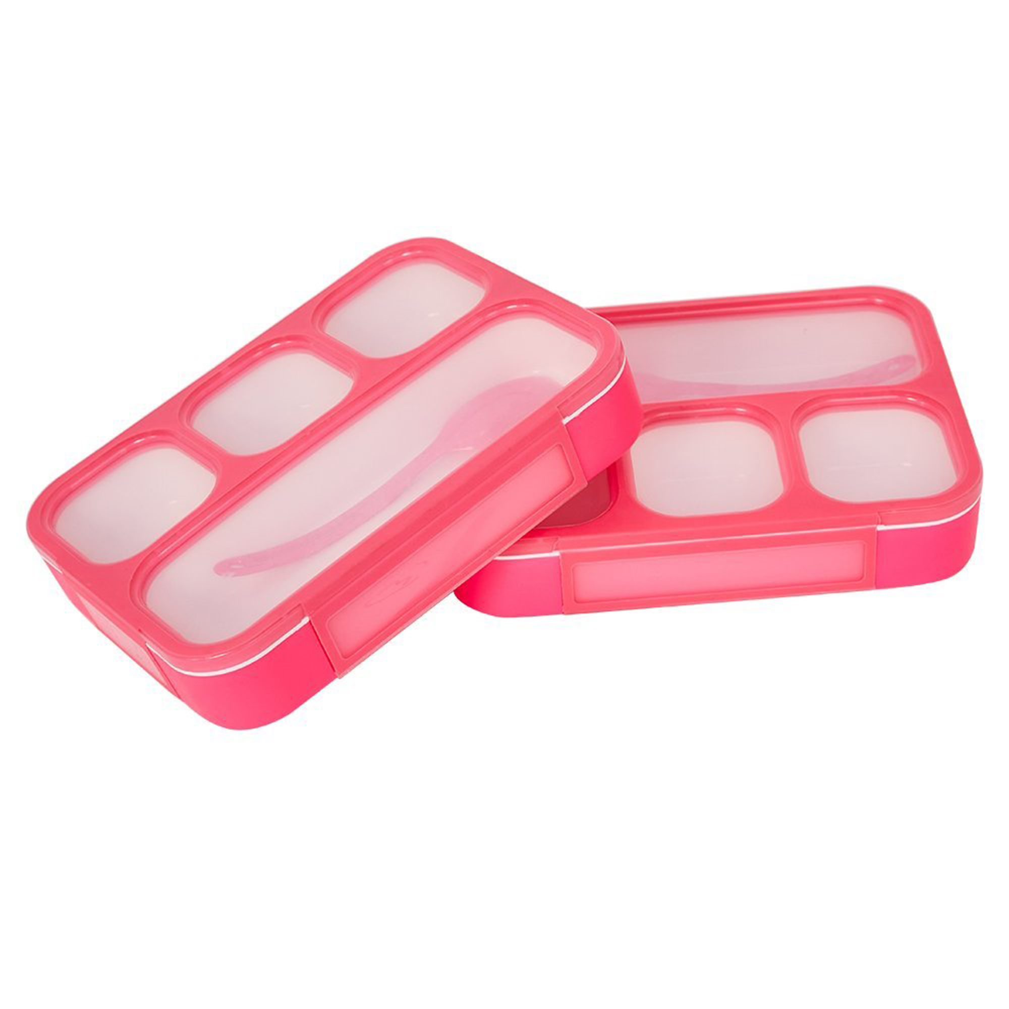 Karmas Product 2 Pack Portable Bento Lunch Box Plastic Food Storage Containers with 4 Compartments Premium Lunch Boxes with Spoon,Ideal for Kids&Adults,Boys and Girls,BPA Free,Red and Blue Colour