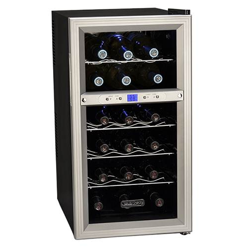 Koldfront 18 Bottle Dual Zone Thermoelectric Wine Cooler - Silver/Black