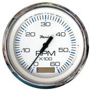 "Faria 33832 Chesapeake Tachometer Gauge with Hourmeter Gas - White SS, 4"""