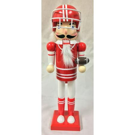 Red American Football Player Sports Wooden Christmas Nutcracker 14 Inch - Nutcracker Football