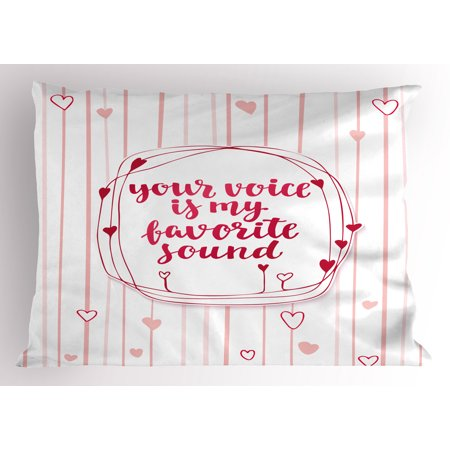 Love Pillow Sham Valentines Day Quote with Hearts Frame on Vertical Lines Romantic Cute Calligraphy, Decorative Standard Size Printed Pillowcase, 26 X 20 Inches, Pink Red Blush, by Ambesonne (Cute Romantic Halloween Quotes)