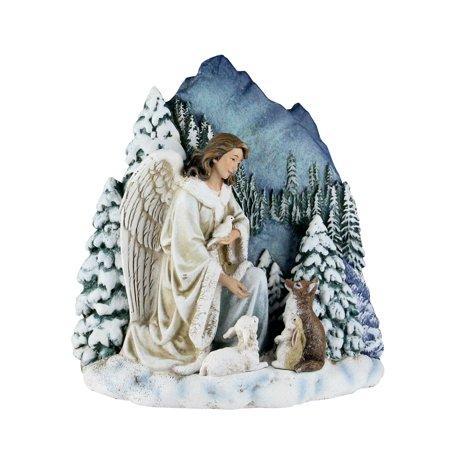 """6"""" Joseph studio Ange avec Animaux sauvages Scène d'hiver table Décoration - image 1 de 1"""