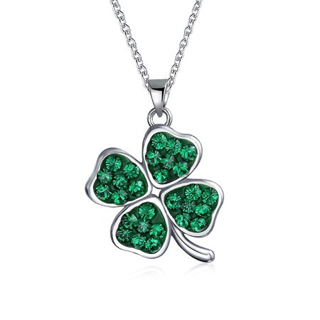 Celtic Lucky Leaf Clover Green Crystal Shamrock Irish Dangle Pendant Charm Necklace For Women 925 Sterling -