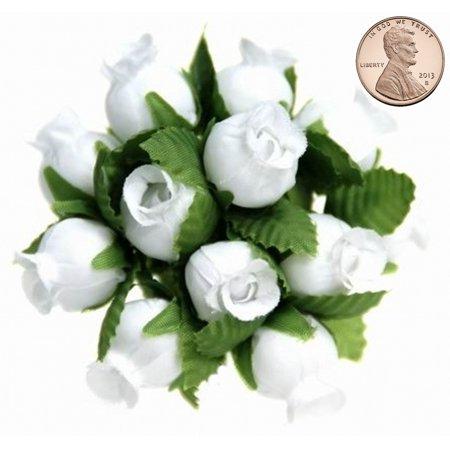 144 Miniature Poly Rose Silk Favor Flower Pick Wedding Shower - White](Flower Picks)