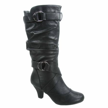 Brown Suede High Heel - Maggie-39 Women's Round Toe High Heel Zipper Mid-Calf Causal Dress Boots Shoes