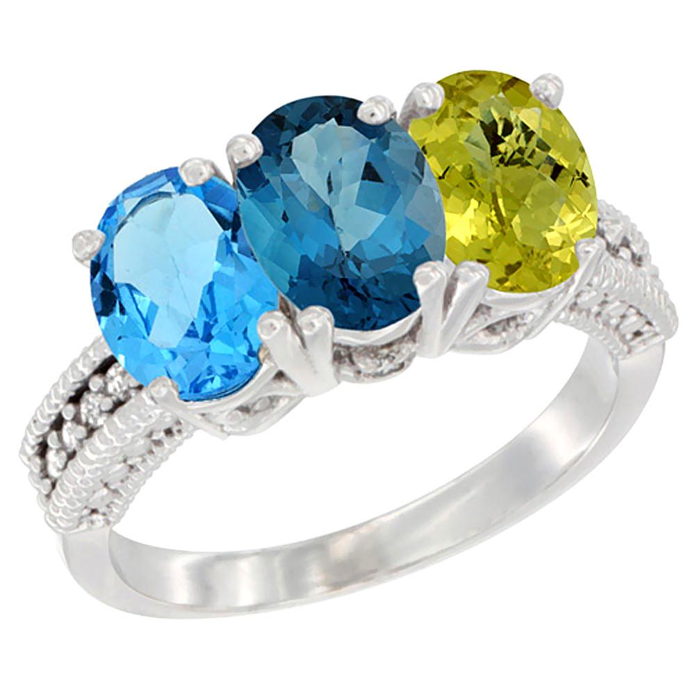 10K White Gold Natural Swiss Blue Topaz, London Blue Topaz & Lemon Quartz Ring 3-Stone Oval 7x5 mm Diamond Accent, sizes... by WorldJewels