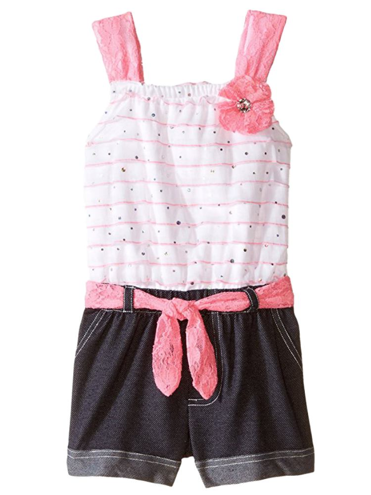 Little Lass Infant Girls White & Pink Denim Romper Creeper Jumper  - Size - 24m