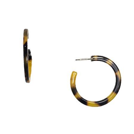 Jewelry Collection Jillet Resin Shell Hoop Earrings, Tortoise