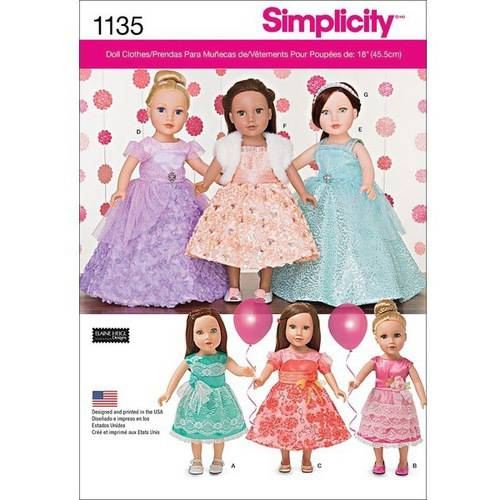 Simplicity Formal Dresses For 18 Dolls, One Size