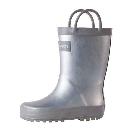 Oakiwear Kids Rain Boots For Boys Girls Toddlers Children, Silver (Kids Silver Boots)