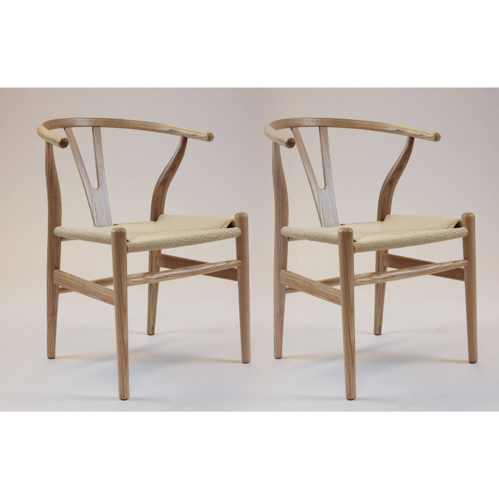 Mid Century Modern Wishbone Dining Chair Natural Wood Set Of 2