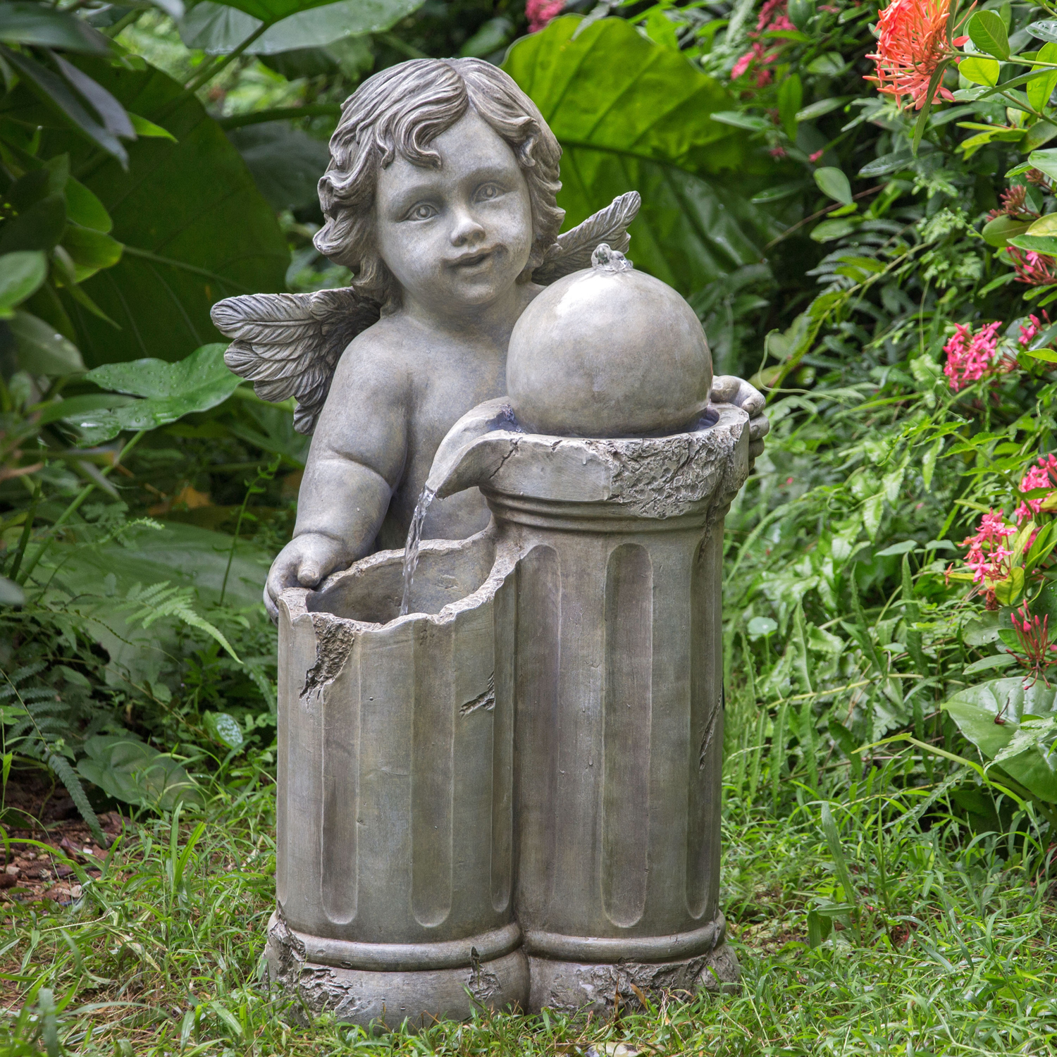 Mainstays Outdoor Cherub Pedestal Fountain
