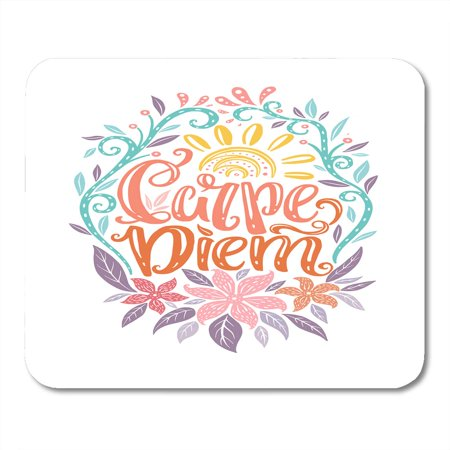 SIDONKU Carpe Diem Lettering Seize The Day Unique Creative Typographic Tattoo Popular Latin Phrase Mousepad Mouse Pad Mouse Mat 9x10
