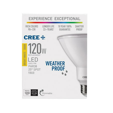 Cree 120W Equivalent Bright White (3000K) PAR38 Dimmable Exceptional Light Quality LED 25 Degree Spot Light Bulb