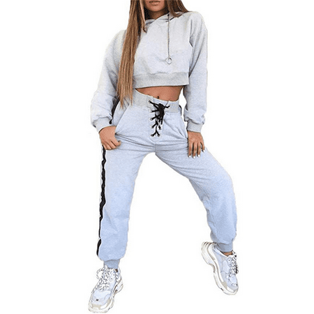 Womens Outfits Tracksuit Set Long Sleeve Crop Top Hoodie Sweatshirt (Womens Outfits)