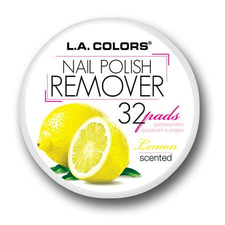 LA Colors Scented Nail Polish Remover Pads, Lemon, 32 Ct