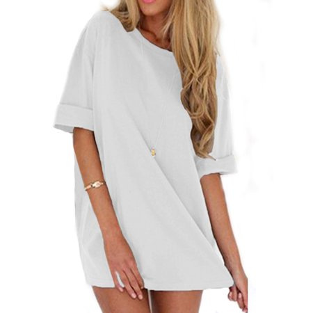 Ladies Casual Short Sleeve Crew Neck Solid Loose Mini (Short Slinky Neckline Dress)