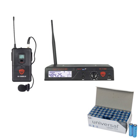 Nady U-1100 LT/O/A UHF 100-Channel Wireless Lavalier Handheld Microphone System & UPG AA 50 Pack