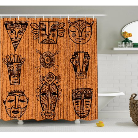 African Shower Curtain Set Ritual And Ceremonial Native Tribal Cultural Masks Spiritual Religious Art Print