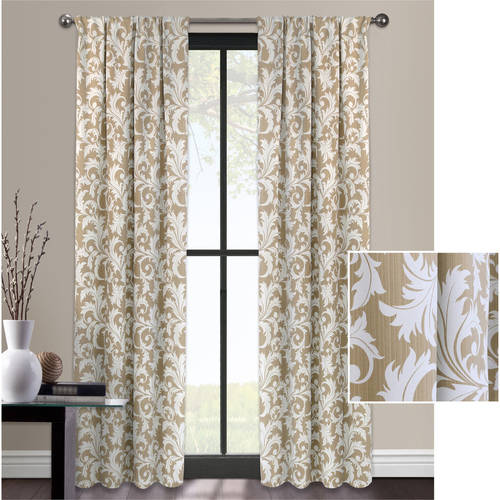 Mainstays Deco Scroll Room Darkening Curtain by Colordrift LLC