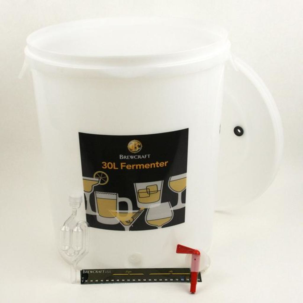 8 Gallon Brewcraft Fermenter Kit, Lid With Hole, With Tap, Thermometer & Airlock by